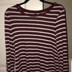 maroon striped shirt